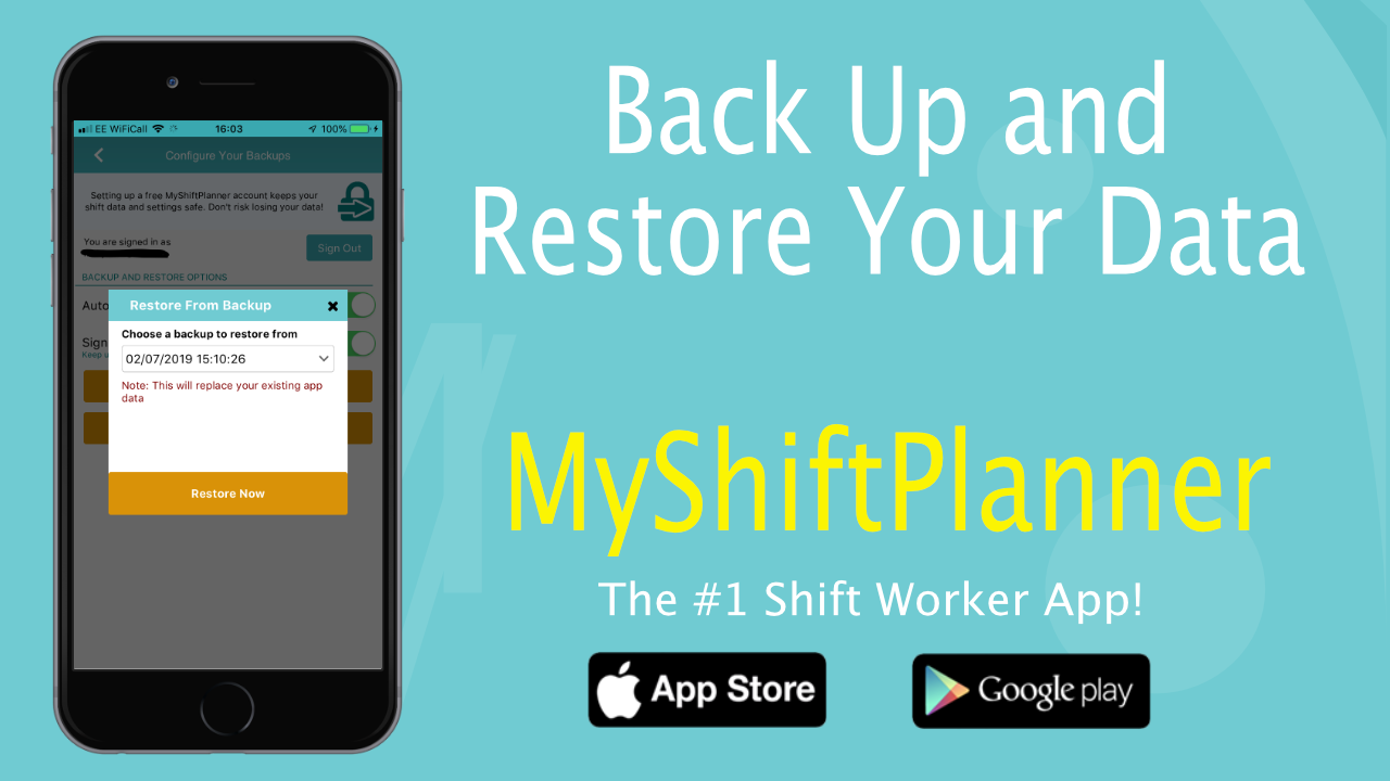 New Backup/Restore Options in My Shift Planner
