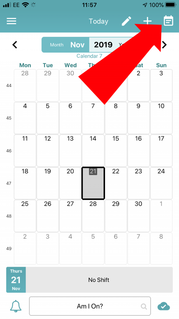 Tap on the Calendar Icon in the top right of the screen