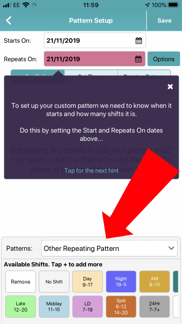 Tap on the Patterns box